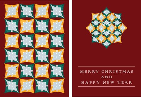 Christmas card with repetitive geometric pattern design.