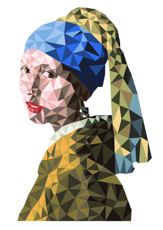 Girl with a pearl earring in a simplified version. Çizim