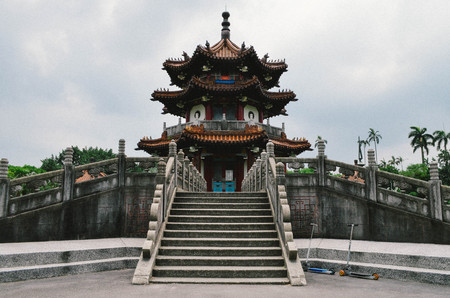 Traditional landmark pagoda located in the center of a park in Taiwan