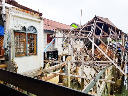 An unfinished demolish floating house at the Island of Panyee, Thailand