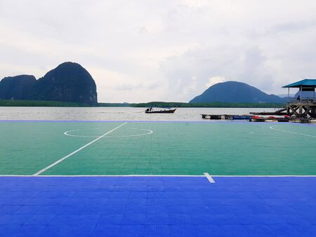 Floating football pitch surrounded by water opens at the island of Panyee, Thailand
