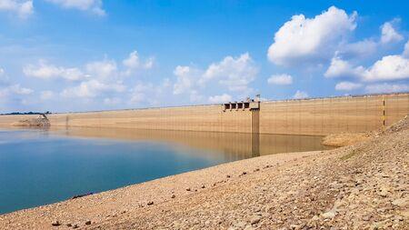 The longest concrete dam with beautiful sky.