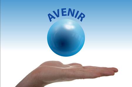 levitacion: Concepto sobre el futuro a trav�s de un globo en la levitaci�n de una mano