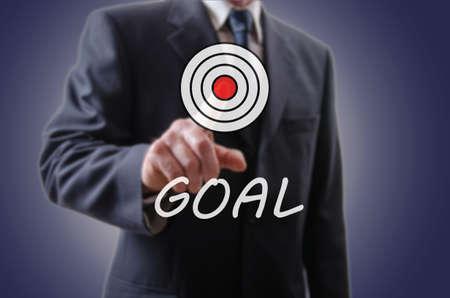 집게 손가락: Businessman indicating the goal with his forefinger