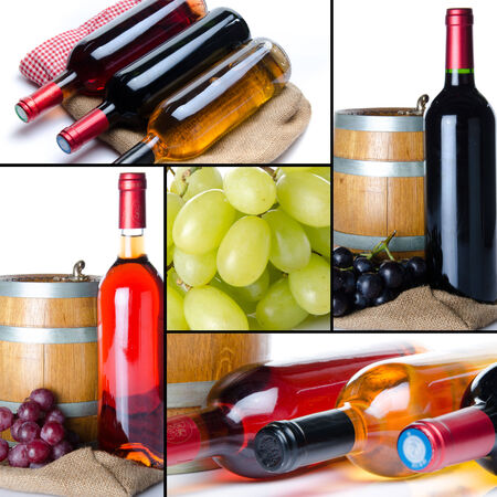 Collage of wine, grapes, bottles and a barrel photo