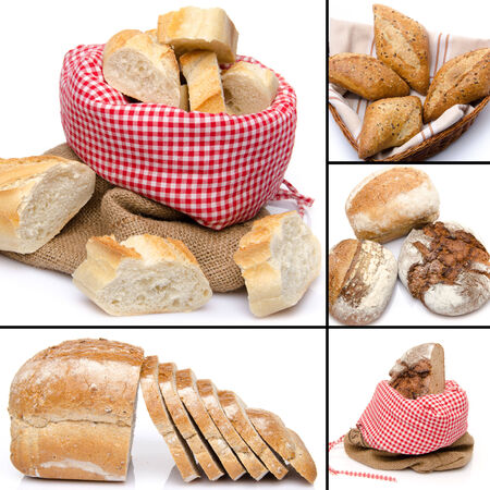 Collage of assortment of bread, isolated on white photo