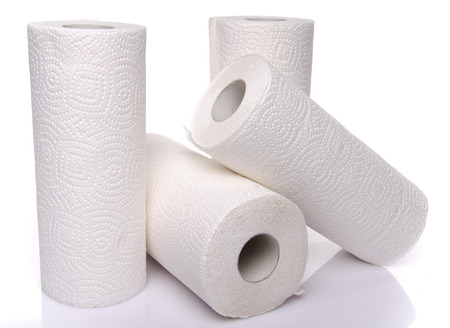 toilet paper: Rolls of paper towels, isolated on white
