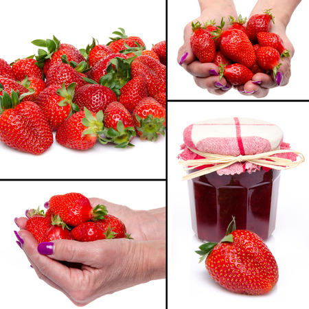 Collage of different compositions with strawberries and jam, isolated on white photo