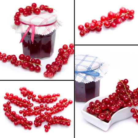 Collage with fresh currants and currant jam photo