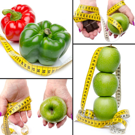 Collage with concepts of diet and weight loss, isolated on white photo