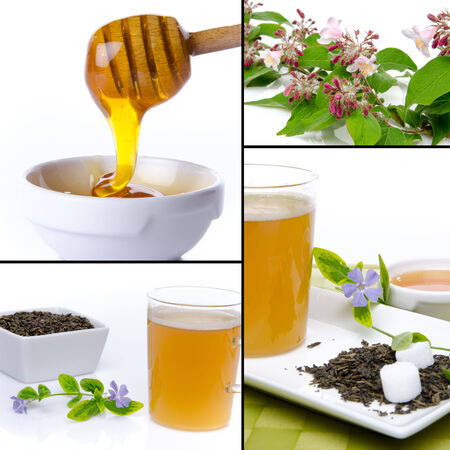 Collage of compositions with honey and tea, isolated on white photo