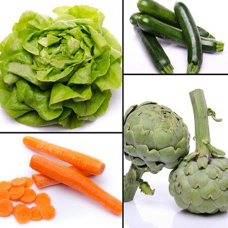 Collage with different vegetables, isolated on white photo