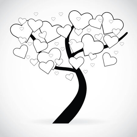 heart shaped leaves: Illustration of a tree with black and white heart shaped leaves, isolated on white
