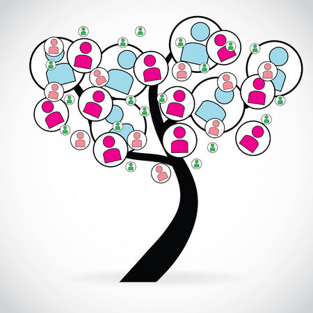 Concept of social networks through an illustration with a tree, isolated on white illustration