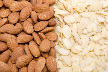 flaked: whole and flaked almonds