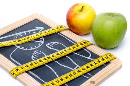 Concept of weight loss, apples and a tape measure, isolated on white photo