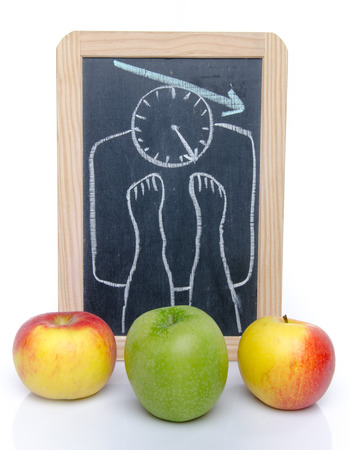 Concept of weight loss with apples, isolated on white photo