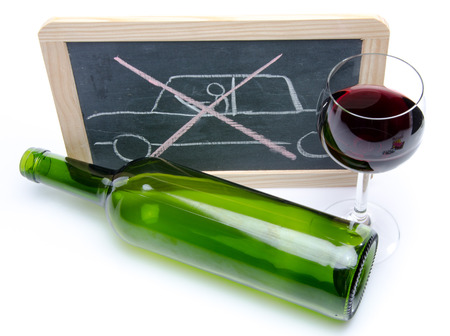 Drunk driving concept on a blackboard photo