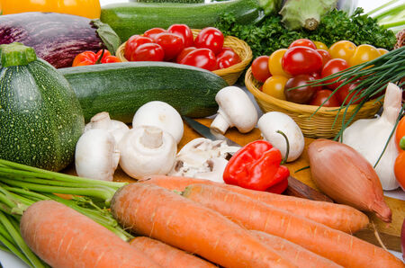 Background of a composition with different fresh vegetables photo