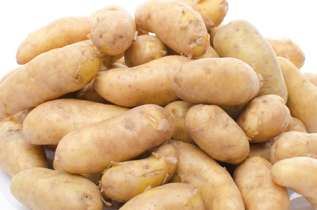 Heap of new rattes potatoes closeup, isolated on white photo
