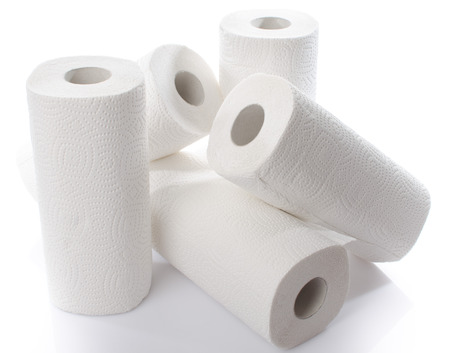 Composition with paper towel rolls, isolated on white Stok Fotoğraf