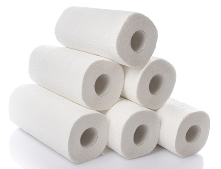 Composition with paper towel rolls, isolated on white Stock Photo