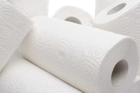 Composition with paper towel rolls, isolated on white Standard-Bild