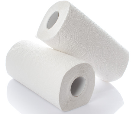 Composition with paper towel rolls, isolated on white photo