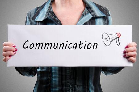promoting: Businesswoman promoting communication