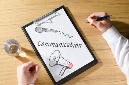 Businessman promoting communication photo