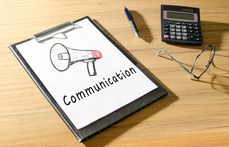 Communication written on a paper sheet photo
