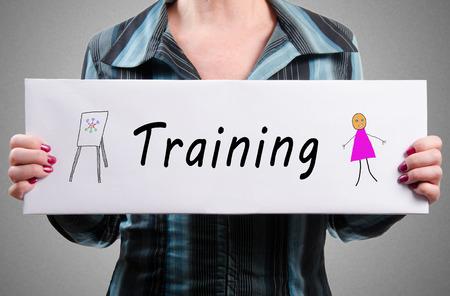 promoting: Businesswoman promoting training
