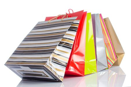 Paper shopping bags, isolated on white
