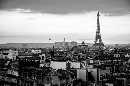 View of Paris black and white