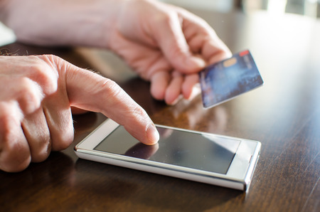 transaction: Online payment using smartphone and credit card
