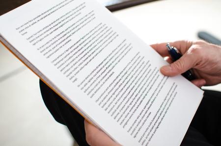 Reading documents, closeup Foto de archivo