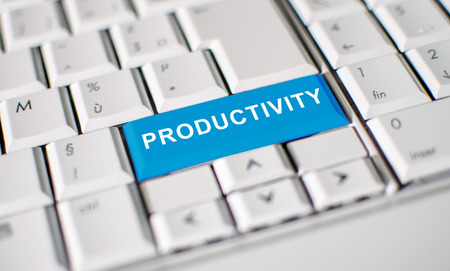 productivity: Computer keyboard with word productivity