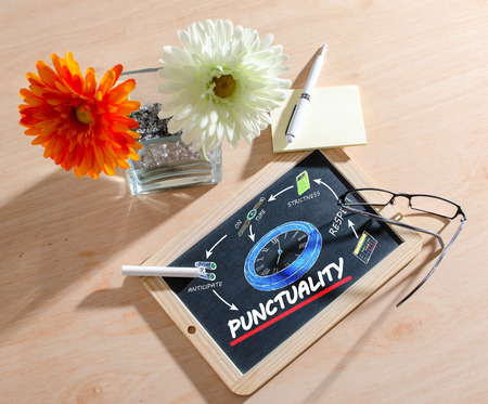 punctuality: Punctuality concept on chalkboard