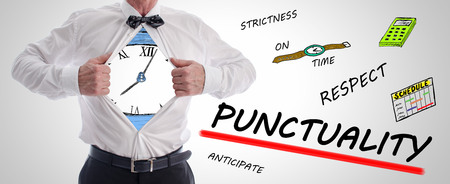 punctuality: Punctuality concept with a businessman opening his shirt Stock Photo