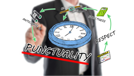 punctuality: Punctuality concept with businessman in background Stock Photo