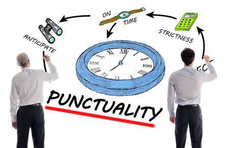 punctuality: Concepto de puntualidad con dos hombres de negocios