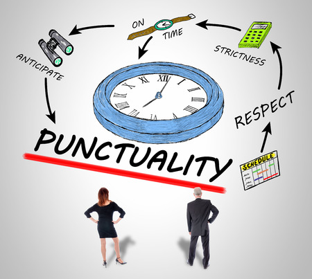 Businesswoman and businessman looking at a punctuality concept