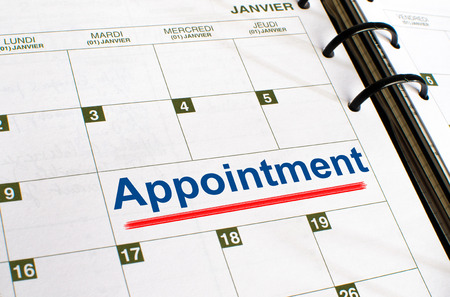 noted: Appointment noted in a diary Stock Photo