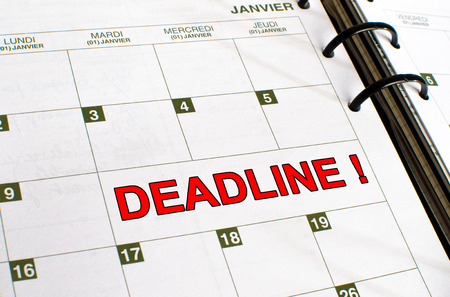 noted: Deadline noted in a diary