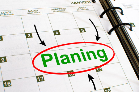 noted: Planning noted in a diary