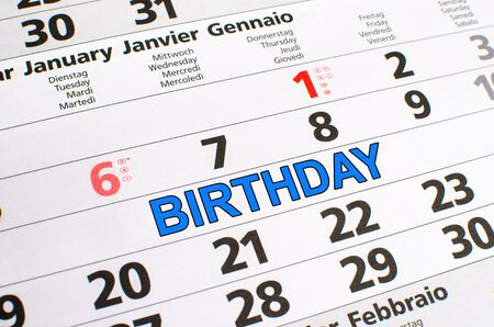 noted: Birthday noted on a calendar