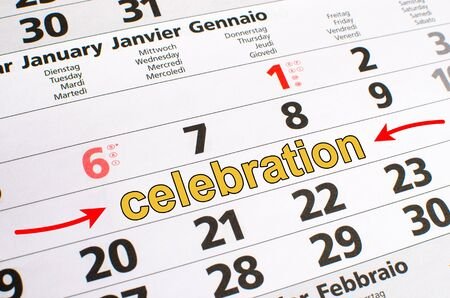 noted: Celebration noted on a calendar Stock Photo