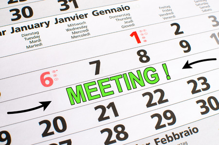 noted: Meeting noted on a calendar