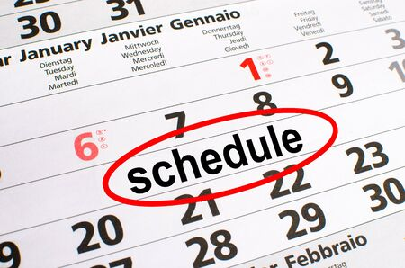 noted: Schedule noted on a calendar