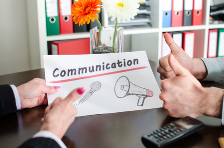 promoting: Business people promoting communication
